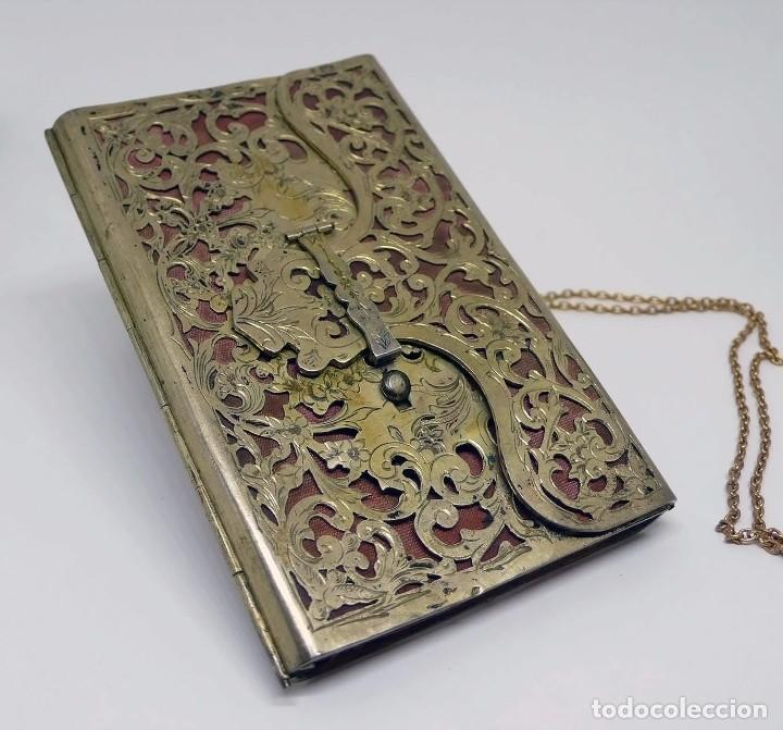 Antigüedades: Antiguo carnet de baile de plata vermeil,cadena oro bajo interior de seda - Final S.XIX - princ.S.XX - Foto 2 - 95559595
