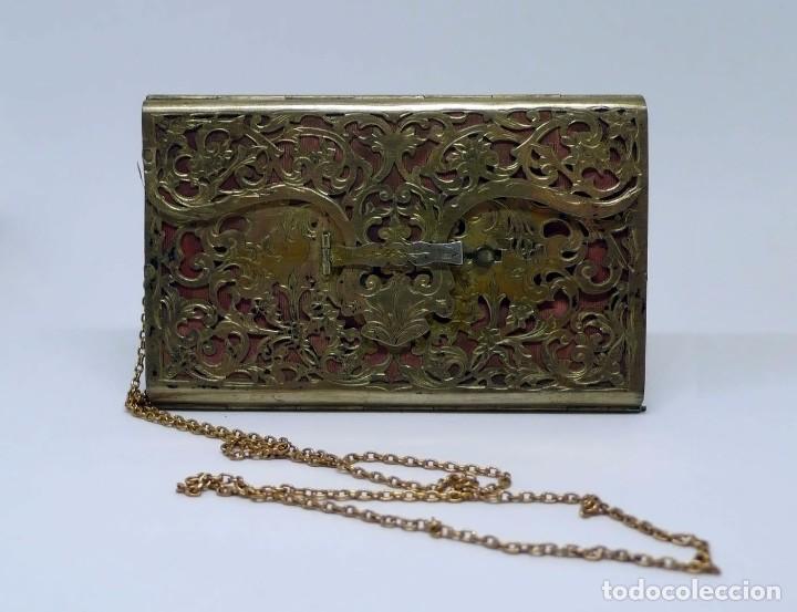Antigüedades: Antiguo carnet de baile de plata vermeil,cadena oro bajo interior de seda - Final S.XIX - princ.S.XX - Foto 5 - 95559595