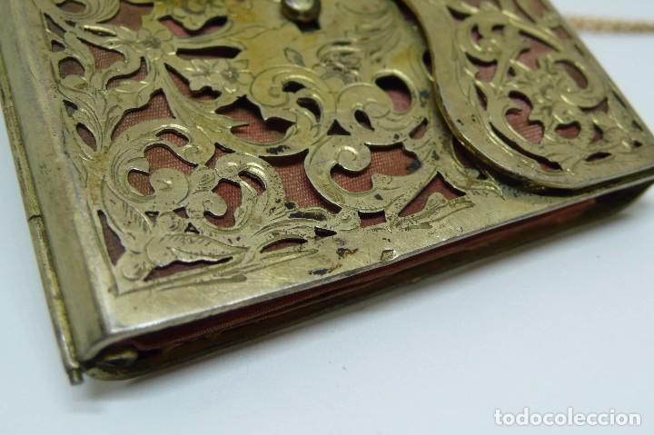 Antigüedades: Antiguo carnet de baile de plata vermeil,cadena oro bajo interior de seda - Final S.XIX - princ.S.XX - Foto 6 - 95559595