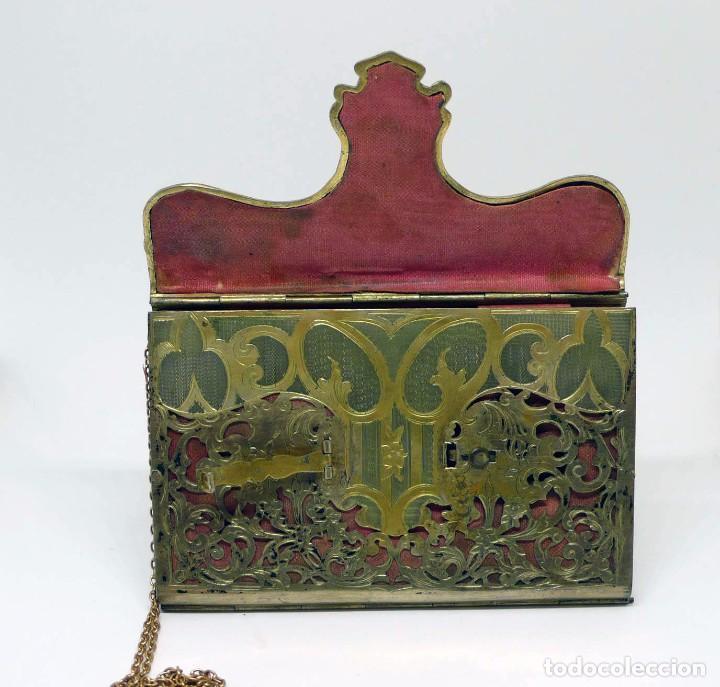 Antigüedades: Antiguo carnet de baile de plata vermeil,cadena oro bajo interior de seda - Final S.XIX - princ.S.XX - Foto 7 - 95559595