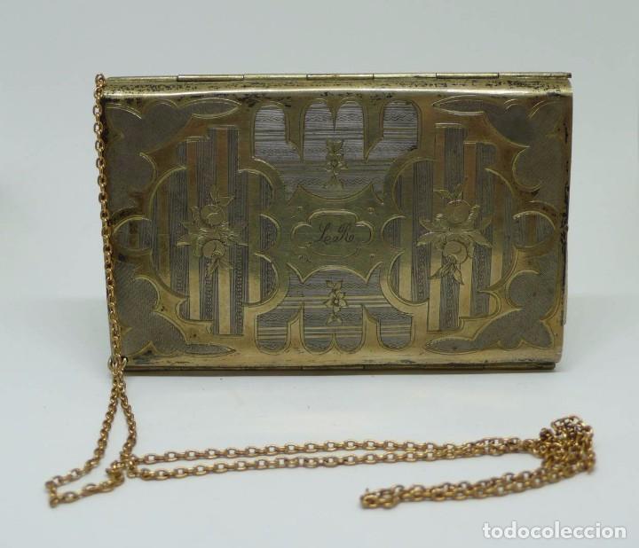 Antigüedades: Antiguo carnet de baile de plata vermeil,cadena oro bajo interior de seda - Final S.XIX - princ.S.XX - Foto 8 - 95559595