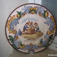 Antigüedades: ESPECTACULAR Y UNICO EN TC PLATO ZORRILLA S. XVIII 29,6 CM PINTADO A MANO FIRMADO DETRAS. Lote 95560459