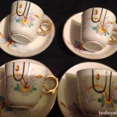 Antigüedades: CUATRO TAZAS Y PLATOS DE CAFÉ MODERNISTA EN PORCELANA. Lote 95561811