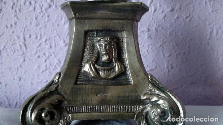 Antigüedades: CANDELABRO DE MENESES DE METAL BLANCO - CONSERVA LOS TRES CONTRASTES - PIEZA ÚNICA - Foto 8 - 95611335