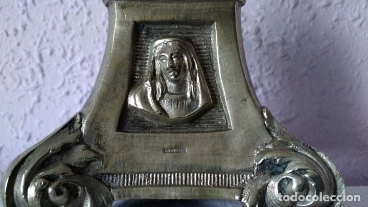 Antigüedades: CANDELABRO DE MENESES DE METAL BLANCO - CONSERVA LOS TRES CONTRASTES - PIEZA ÚNICA - Foto 10 - 95611335
