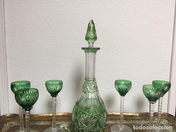 BACCARAT TALLADO MUY ANTIGUO JUEGO LICORERA SEIS COPAS (Antigüedades - Cristal y Vidrio - Baccarat )