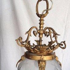 Antigüedades: FAROL BRONCE CON TULIPA DE CRISTAL. Lote 95619583