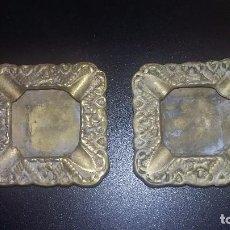 Antigüedades: PAREJA DE CENICEROS DE BRONCE. Lote 95621499