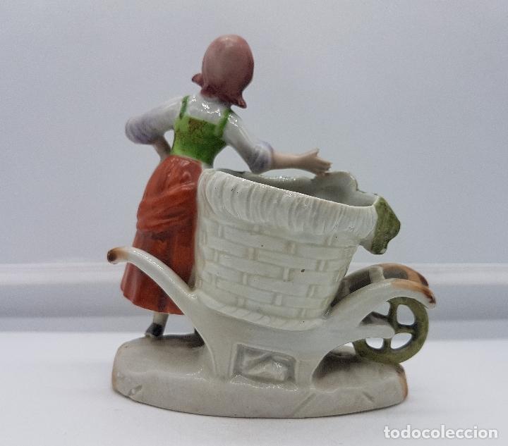 Antigüedades: Palillero antiguo art decó en porcelana Alemana bellamente policromada a mano, pieza de colección . - Foto 3 - 95631127