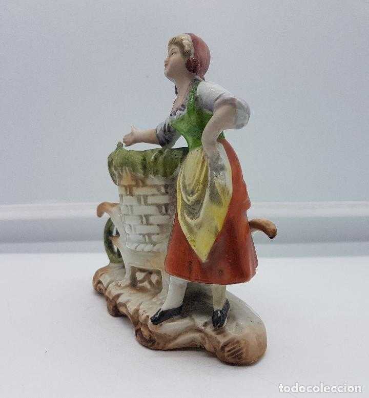 Antigüedades: Palillero antiguo art decó en porcelana Alemana bellamente policromada a mano, pieza de colección . - Foto 4 - 95631127