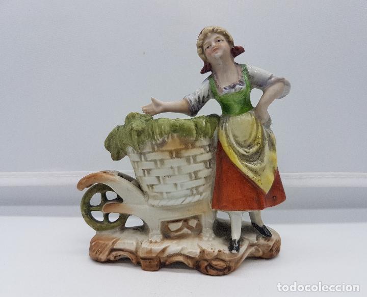 Antigüedades: Palillero antiguo art decó en porcelana Alemana bellamente policromada a mano, pieza de colección . - Foto 5 - 95631127