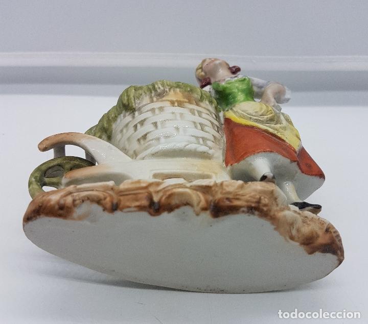 Antigüedades: Palillero antiguo art decó en porcelana Alemana bellamente policromada a mano, pieza de colección . - Foto 6 - 95631127