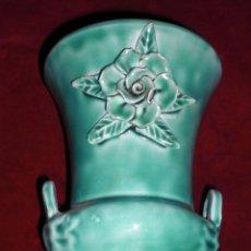Antigüedades: ANTIGUO JARRON MANISES VIDRIADO VERDE ESMERALDA. Lote 95636995