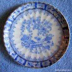 Antigüedades: PLATO PORCELANA SANTA CLARA, CHINA BLAU. DE 11,50 CMS. DIAMETRO.. Lote 95673599