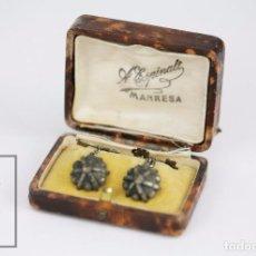 Antigüedades: ANTIGUOS GEMELOS - SÍMBOLOS DEL VATICANO? - LLAVES - PLATEADOS - A. ESPINALT, MANRESA. Lote 95674063