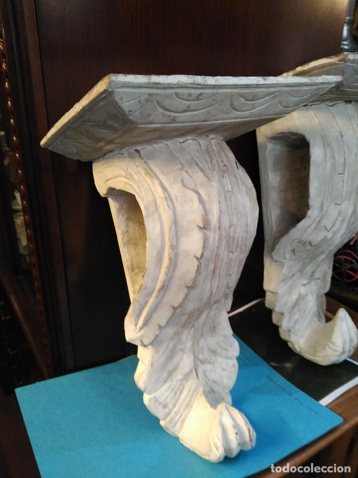 Antigüedades: ANTIGUA GRAN PAREJA MENSULAS MADERA TALLADAS A MANO 22 X 19 X 36 cm altura VENTA DIRECTA 350 EUROS - Foto 2 - 95695135