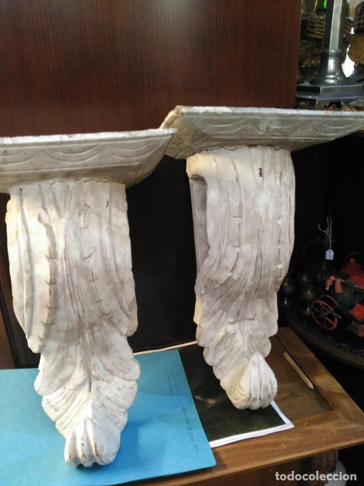 Antigüedades: ANTIGUA GRAN PAREJA MENSULAS MADERA TALLADAS A MANO 22 X 19 X 36 cm altura VENTA DIRECTA 350 EUROS - Foto 4 - 95695135