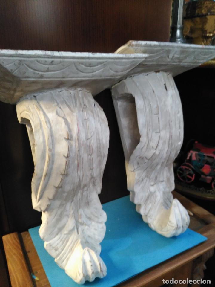 Antigüedades: ANTIGUA GRAN PAREJA MENSULAS MADERA TALLADAS A MANO 22 X 19 X 36 cm altura VENTA DIRECTA 350 EUROS - Foto 5 - 95695135