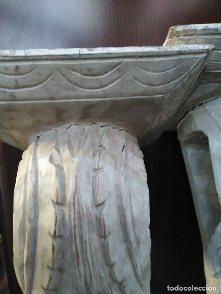 Antigüedades: ANTIGUA GRAN PAREJA MENSULAS MADERA TALLADAS A MANO 22 X 19 X 36 cm altura VENTA DIRECTA 350 EUROS - Foto 6 - 95695135