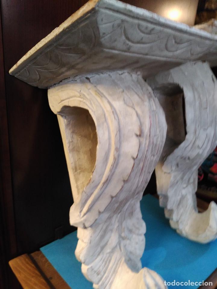 Antigüedades: ANTIGUA GRAN PAREJA MENSULAS MADERA TALLADAS A MANO 22 X 19 X 36 cm altura VENTA DIRECTA 350 EUROS - Foto 7 - 95695135