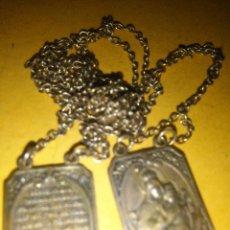 Antigüedades: ESCAPULARIO ANTIGUOS ESCAPULARIOS VIRGEN DEL CARMEN Y SAGRADO CORAZON DE JESUS MEDALLAS CADENA PLATA. Lote 99995064