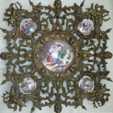 Antigüedades: ANTIGUO PLATO Y FILIGRANA DE BRONCE Y PORCELANA.. Lote 95701728