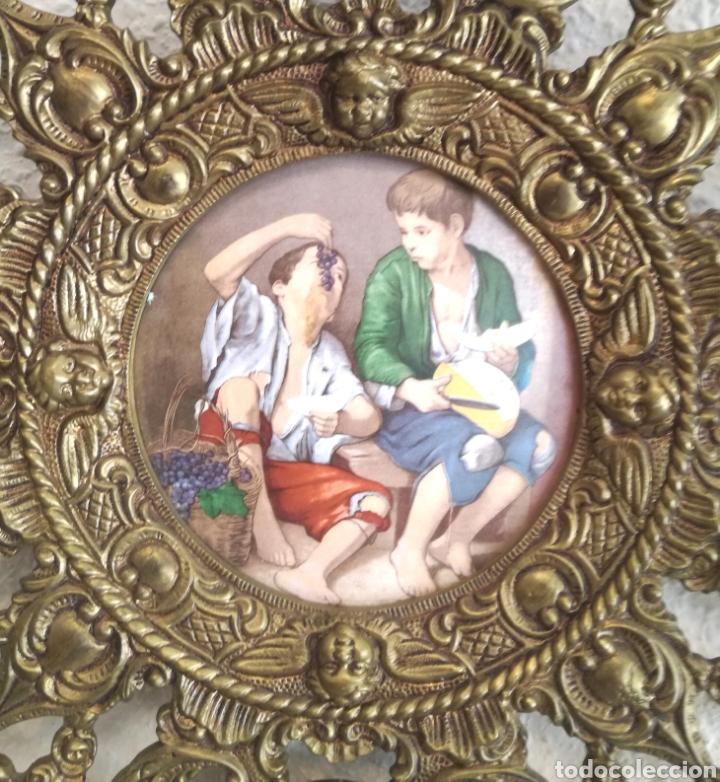 Antigüedades: Antiguo Plato y Filigrana de Bronce y Porcelana. - Foto 4 - 95701728