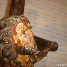 Antigüedades: ANTIGUO CRUCIFIJO TALLA EN MADERA , SIGLO XVIII-XIX. Lote 95734260