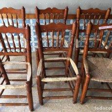 Antigüedades: 6 SILLAS COMEDOR DE ENEA PARA PONER NUEVA LA ENEA.DE 4 BARROTES EN EL RESPALDO. Lote 95771951