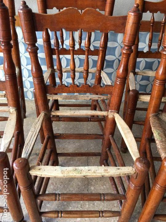Antigüedades: 6 SILLAS COMEDOR DE ENEA PARA PONER NUEVA LA ENEA.DE 4 BARROTES EN EL RESPALDO - Foto 16 - 95771951
