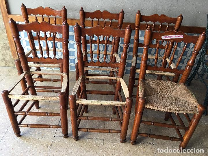 Antigüedades: 6 SILLAS COMEDOR DE ENEA PARA PONER NUEVA LA ENEA.DE 4 BARROTES EN EL RESPALDO - Foto 18 - 95771951