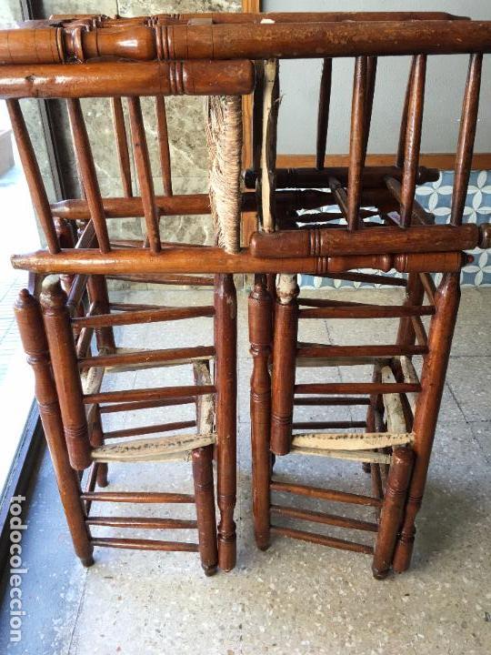 Antigüedades: 6 SILLAS COMEDOR DE ENEA PARA PONER NUEVA LA ENEA.DE 4 BARROTES EN EL RESPALDO - Foto 19 - 95771951