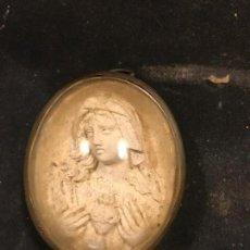 Antigüedades: MEDALLON DE LA VIRGEN MARIA EN ESPUMA DE MAR. Lote 95775635