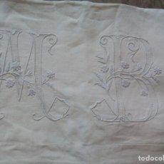 Antigüedades: ANTIGUA SABANA DE LINO CON GRANDES INICIALES. Lote 95815599