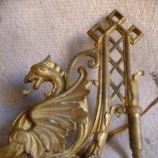 Antiques - 2 Candelero ( no candelabro ) en bronce dorado modernista de piano o pared con dragón prc. SXX - 95850839