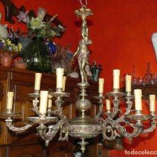 Antigüedades: ** ESPECTACULAR LAMPARA DE TECHO DE DOCE BRAZOS DE BRONCE FINALEX XIX PRINCIPIOS XX **. Lote 95924211