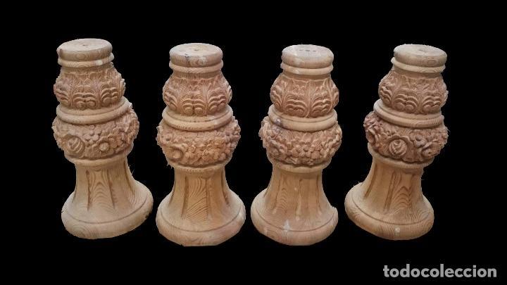 4 PATAS DE MADERA DE PINO TALLADAS,SIN USO, ESPECTACULARES, 40 X 20 X 10 (Antigüedades - Varios)