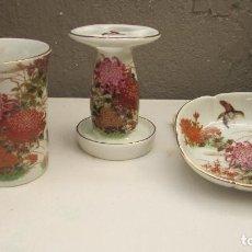 Antigüedades: PORCELANA SHIBATA - JAPAN - 3 PIEZAS BAÑO - VER FOTOS. Lote 96020583