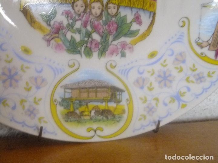 Antigüedades: Plato porcelana Recuerdo Asturias con Virgen de Covadonga y escenas asturianas. - Foto 5 - 96030099
