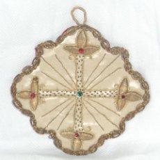 Antigüedades: ANTIGUO ESCAPULARIO BORDADO RELIGIOSO CATOLICO RELIQUIA SCAPULAR MIDE 10,5 CM X 10,5 CM ENVIO GRATIS. Lote 96077579