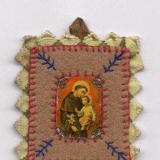 Antigüedades: ANTIGUO ESCAPULARIO BORDADO RELIGIOSO CATOLICO RELIQUIA SCAPULAR SAN ANTONIO DE PADUA ENVIO GRATIS. Lote 96078383