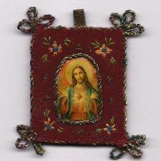 Antigüedades: ANTIGUO ESCAPULARIO BORDADO RELIGIOSO CATOLICO RELIQUIA SCAPULAR SAGRADO CORAZON ENVIO GRATIS. Lote 96081655