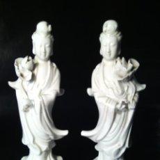 Antigüedades: KWAN YIN. PAREJA DE DIVINIDADES EN PORCELANA BLANC DE CHINE. MEDIADOS DEL S. XX.. Lote 96098695