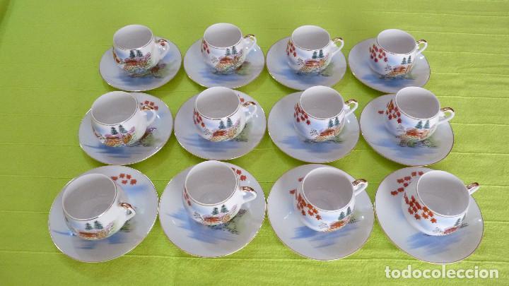 Antigüedades: DELICADO JUEGO DE CAFÉ (12 SERVICIOS) DE PORCELANA JAPONESA EIHO GRADE A - Foto 5 - 96101111