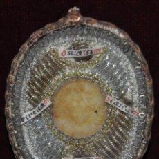 Antigüedades: ANTIGUO RELICARIO DEL SIGLO XIX CON 4 RELIQUIAS Y MEDALLON CENTRAL EN CERA. Lote 96136807