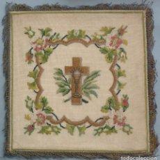 Antigüedades: ANTIGUA PALIA RELIGIOSA BORDADA A PUNTO DE CRUZ S.XIX. Lote 96163259