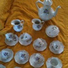 Antigüedades: JUEGO DE CAFE,COMPLETO-PINTADO A MANO,PILUCA-VIPOR-ESPAÑA-LIS. Lote 96184831