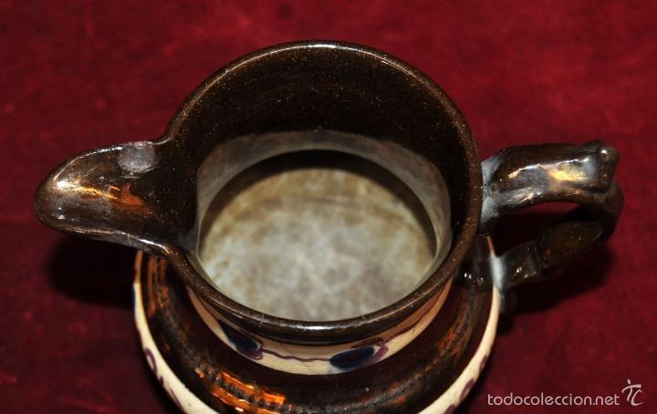 Antigüedades: ANTIGUA JARRA EN CERAMICA DE REFLEJOS (BRISTOL). FINALES SIGLO XIX - Foto 2 - 96224247