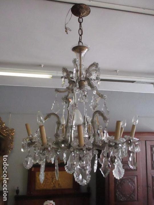 L mpara de techo ara a veneciana 9 luces comprar l mparas antiguas en todocoleccion - Lamparas de arana de cristal ...