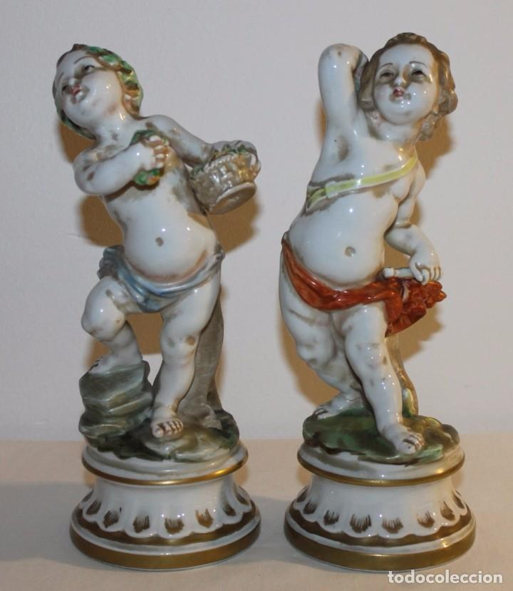 PAREJA DE ÁNGELES EN PORCELANA ESMALTADA - CH HISPANIA MANISES - MEDIADOS SIGLO XX (Antigüedades - Porcelanas y Cerámicas - Manises)